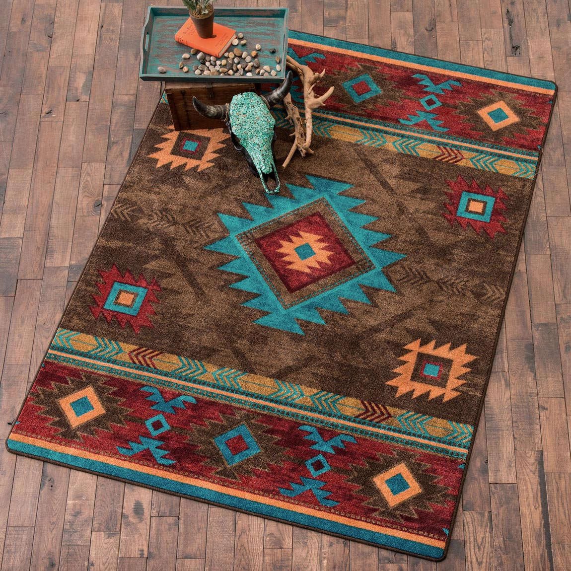 Southwest Rugs 2 X 8 Whiskey River Turquoise Rug Lone Star Western Decor