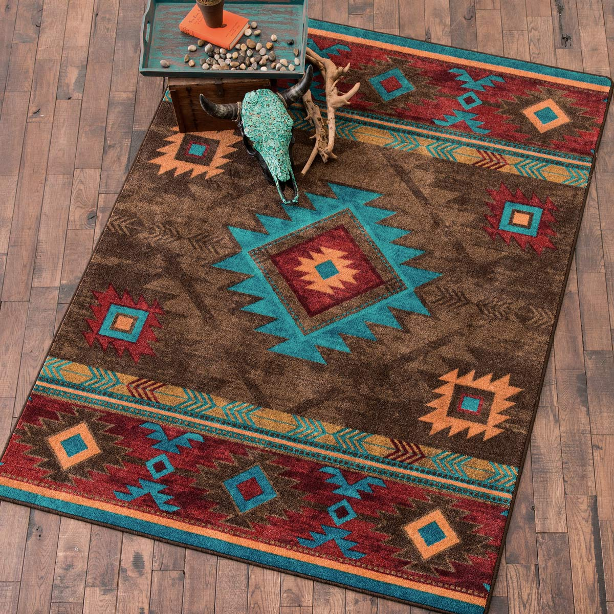 Southwest Rugs 4 X 5 Whiskey River Turquoise Ruglone Star Western
