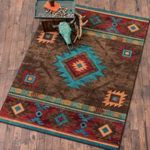 Whiskey River Turquoise Rug - 5 x 8