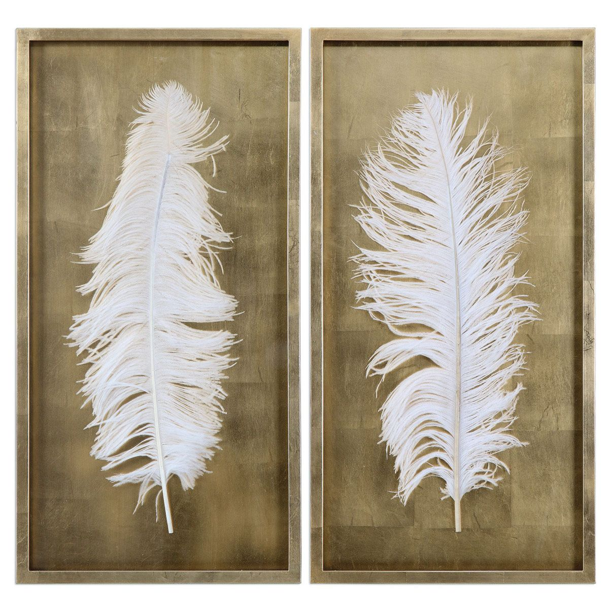 White Feathers Shadow Boxes - Set of 2