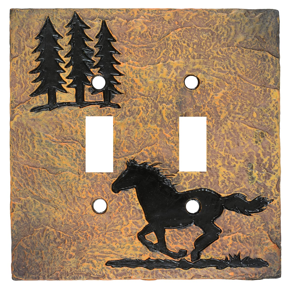 Wild Horse Stone Double Switch Cover