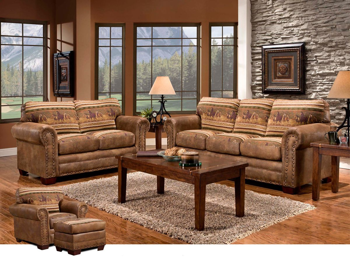 Western Furniture Wild Horses 4 Piece Set Lone Star