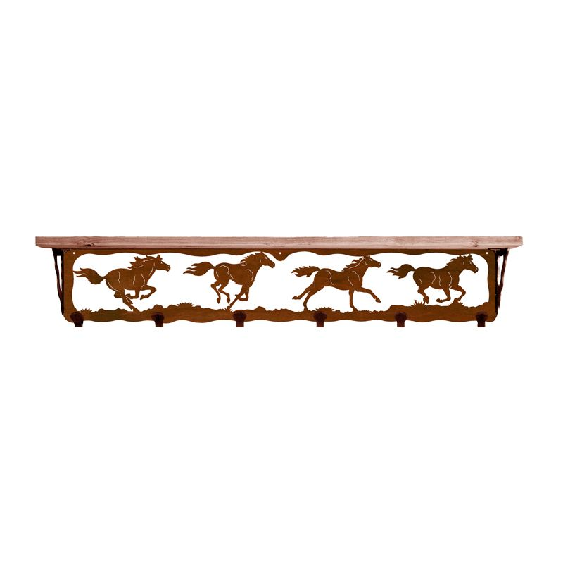 Wild Horses 42 Inch Pine Hook Shelf - Rust