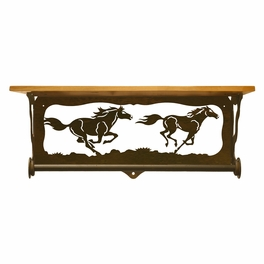 Wild Horses Bath Wall Shelf - 20 Inch