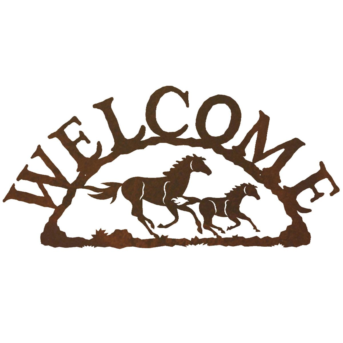 Wild Horses Welcome Metal Wall Hanging