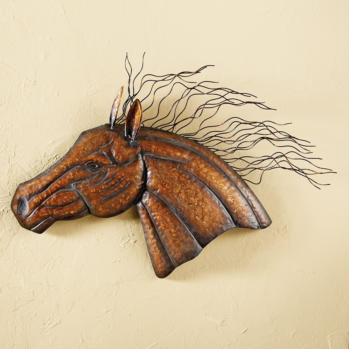 Wild Mane Horse Wall Sculpture
