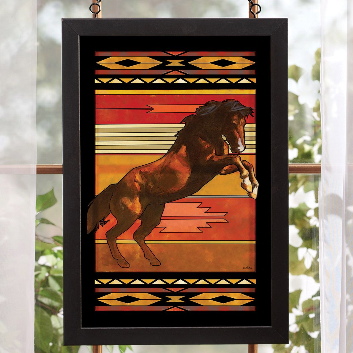 Wild Stallion Stained Glass Wall Art