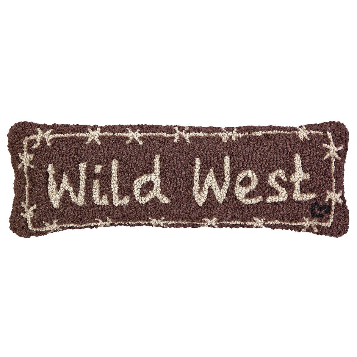 Wild West Hooked Wool Rectangle Pillow
