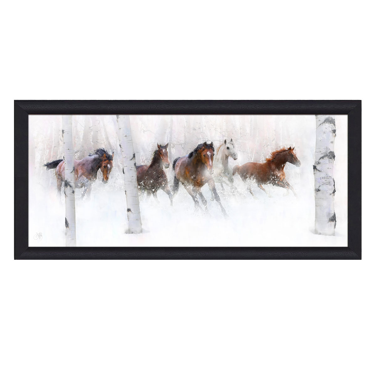 Wild Winter Horses Personalized Framed Canvas