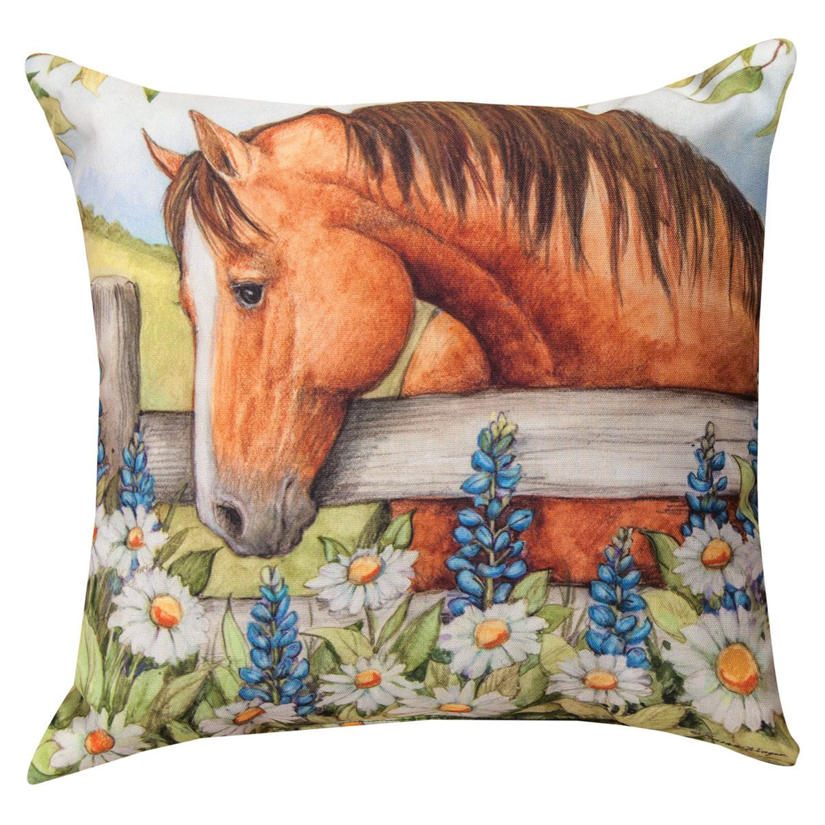 Wildflower Horse Pillow - Bluebonnets