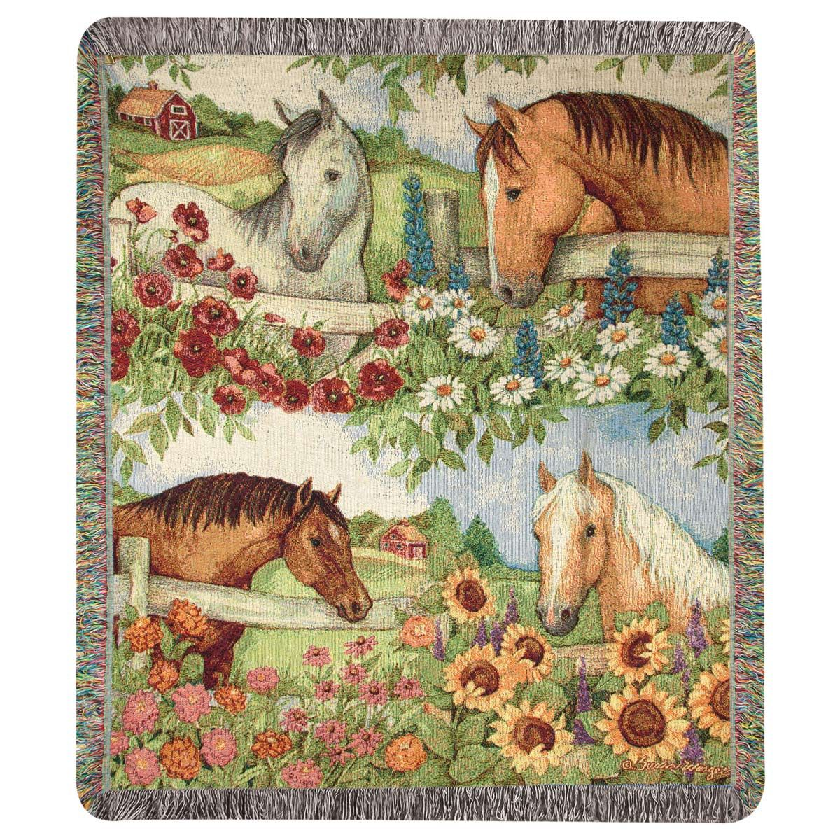 Wildflower Horse Tapestry Throw