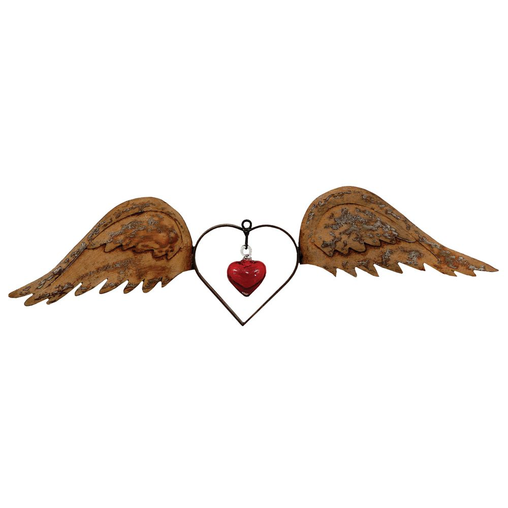 Wings with Hearts Metal Wall Art