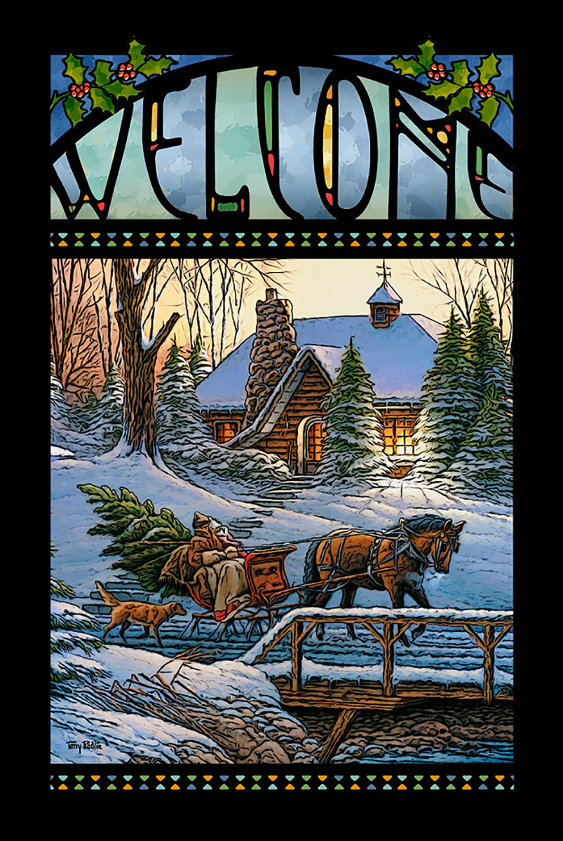 Wintry Cabin Welcome Stained Glass Art