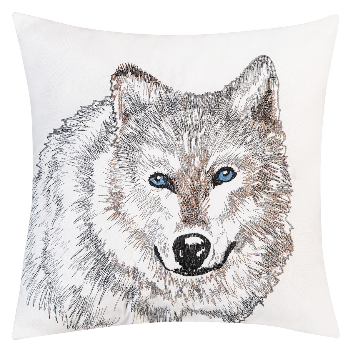 Wolf Profile Indoor/Outdoor Embroidered Pillow