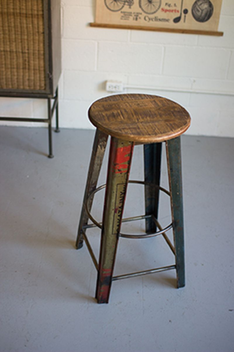 Wood and Recycled Metal Barstool