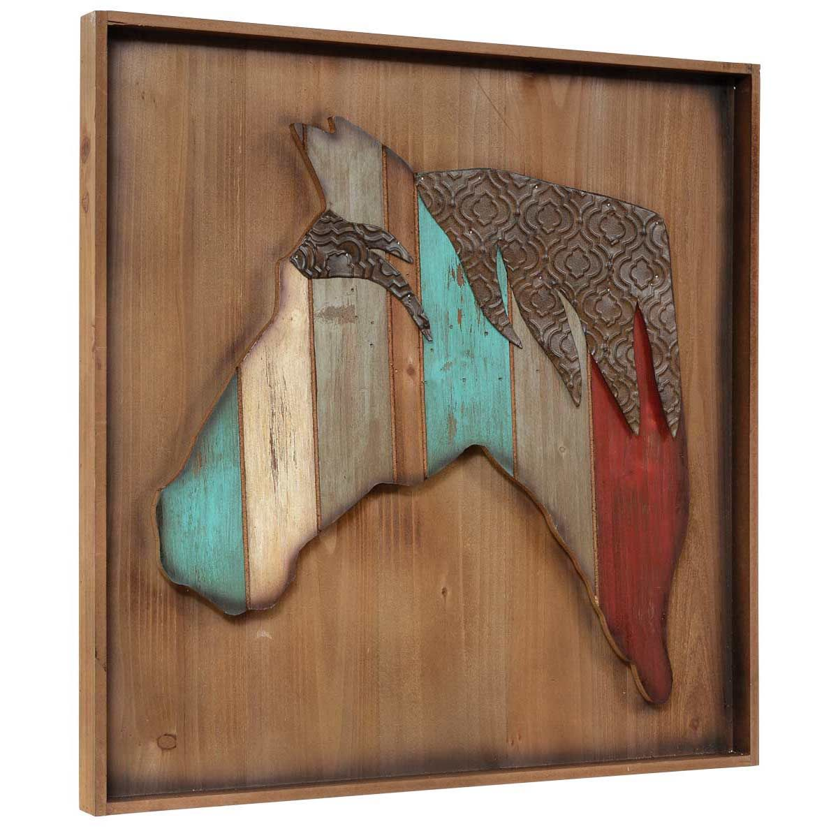 Wood & Embossed Metal Horse Wall Art