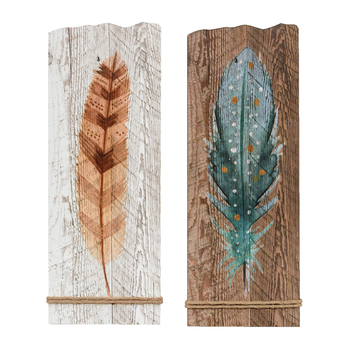 Wood Feather Wall Art - Set of 2