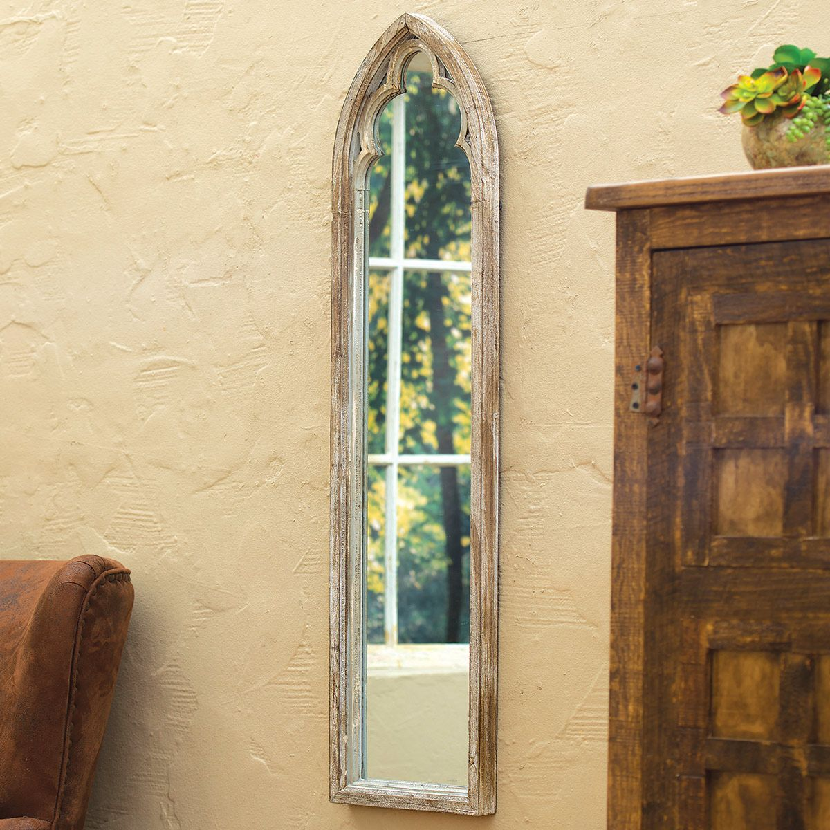 Wood Frame Arched Wall Mirror