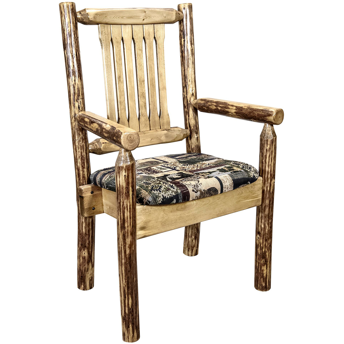 Woodsman Captain's Chair with Woodland Upholstered Seat
