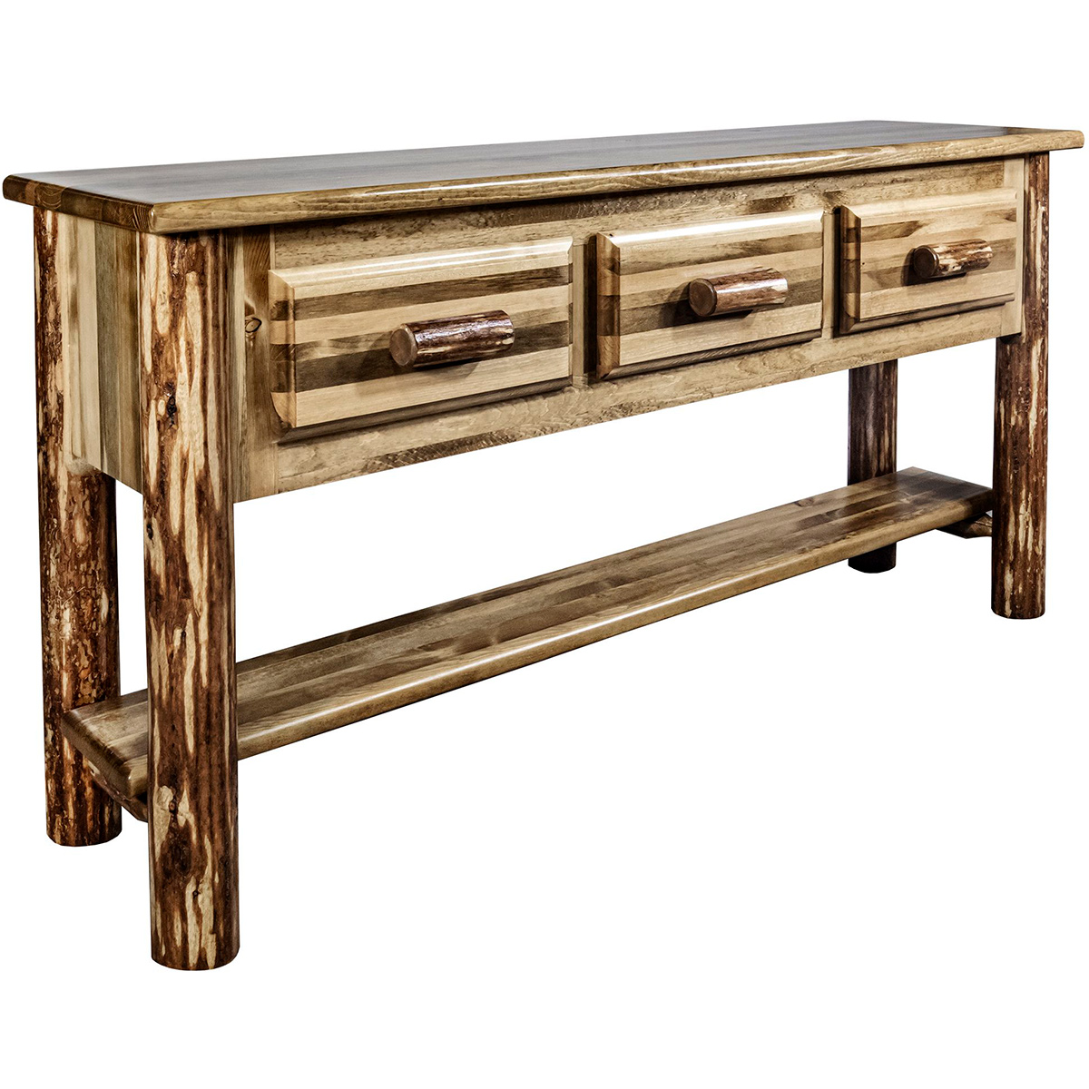 Woodsman Console Table with 3 Drawers