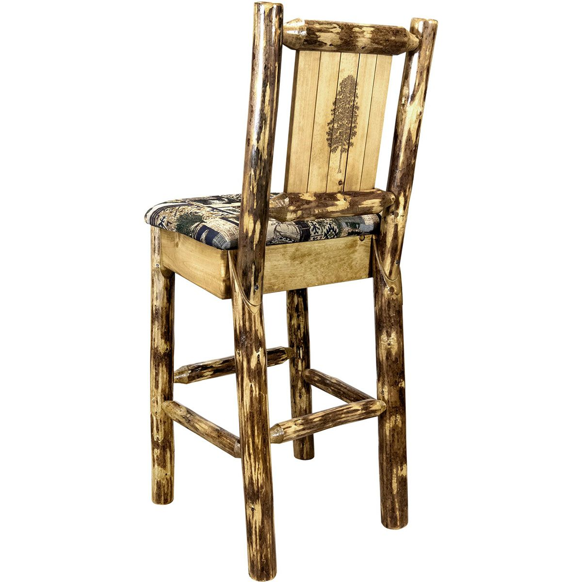 Woodsman Counter Stool with Back & Laser-Engraved Pine Tree Design
