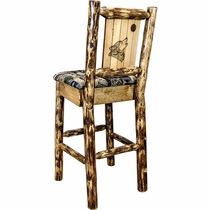 Woodsman Counter Stool with Back & Laser-Engraved Wolf Design