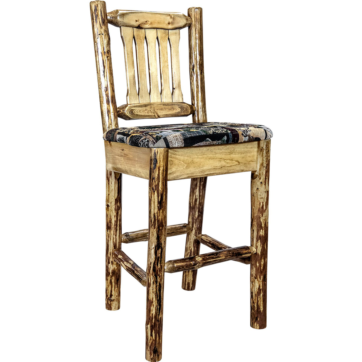 Woodsman Counter Stool with Back & Woodland Upholstery