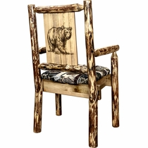 Woodsman Woodland Upholstery Captain's Chair with Laser-Engraved Bear Design
