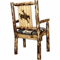 Woodsman Woodland Upholstery Captain's Chair with Laser-Engraved Bronc Design