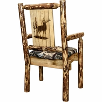 Woodsman Woodland Upholstery Captain's Chair with Laser-Engraved Elk Design
