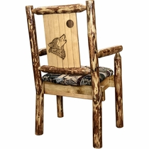 Woodsman Woodland Upholstery Captain's Chair with Laser-Engraved Wolf Design
