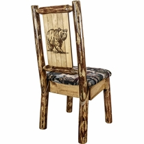 Woodsman Woodland Upholstery Side Chair with Laser-Engraved Bear Design