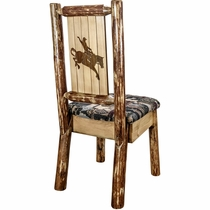 Woodsman Woodland Upholstery Side Chair with Laser-Engraved Bronc Design