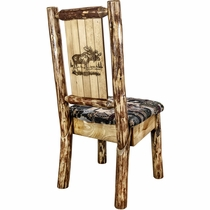 Woodsman Woodland Upholstery Side Chair with Laser-Engraved Moose Design