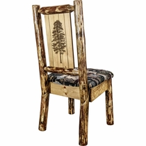 Woodsman Woodland Upholstery Side Chair with Laser-Engraved Pine Tree Design