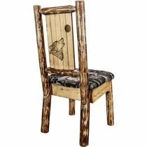 Woodsman Woodland Upholstery Side Chair with Laser-Engraved Wolf Design
