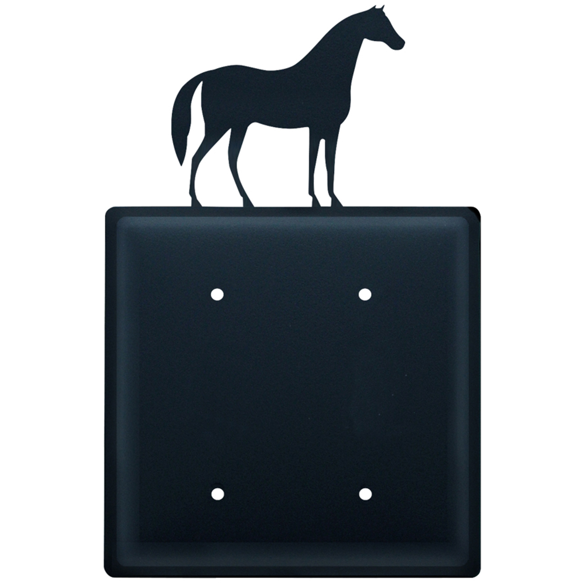 Wrought Iron Horse Double Electrical Cover