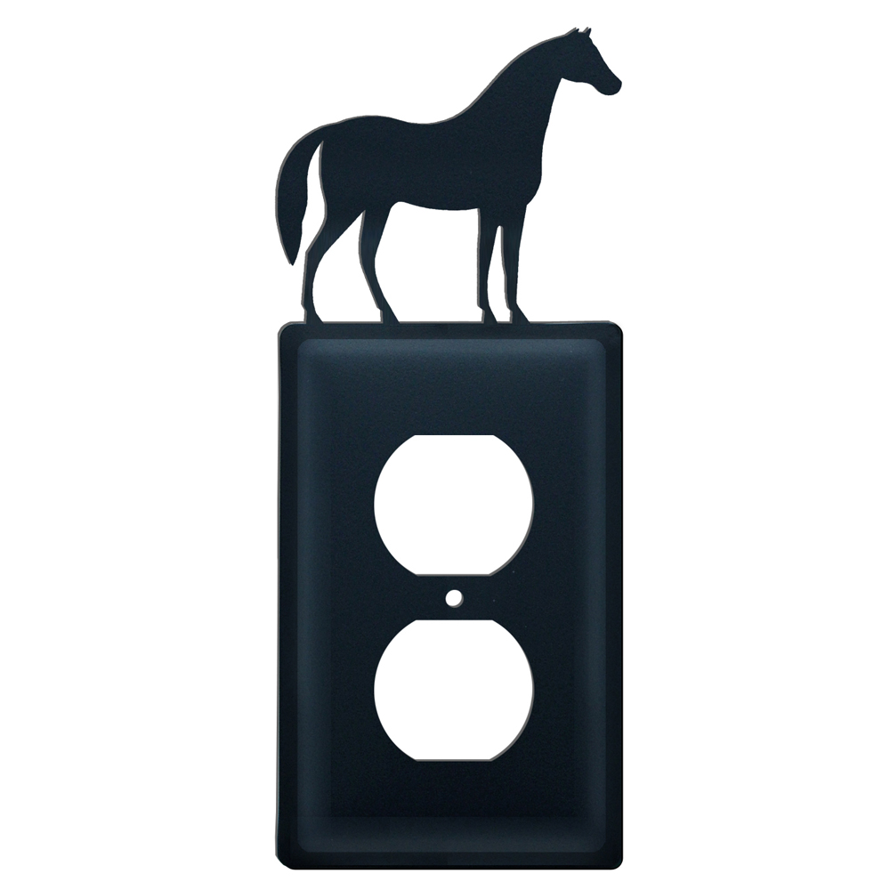 Wrought Iron Horse Single Outlet Cover