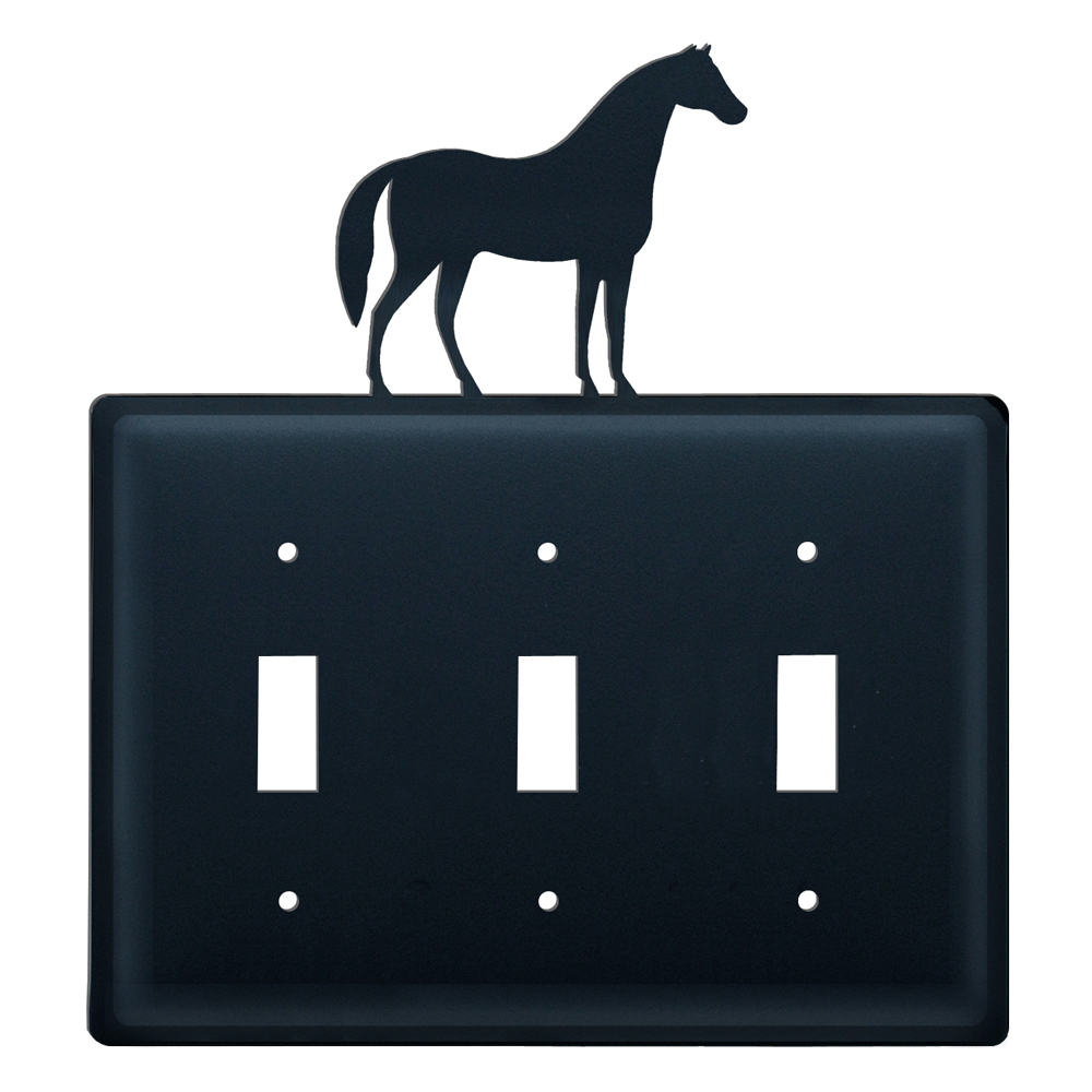 Wrought Iron Horse Triple Switch Cover