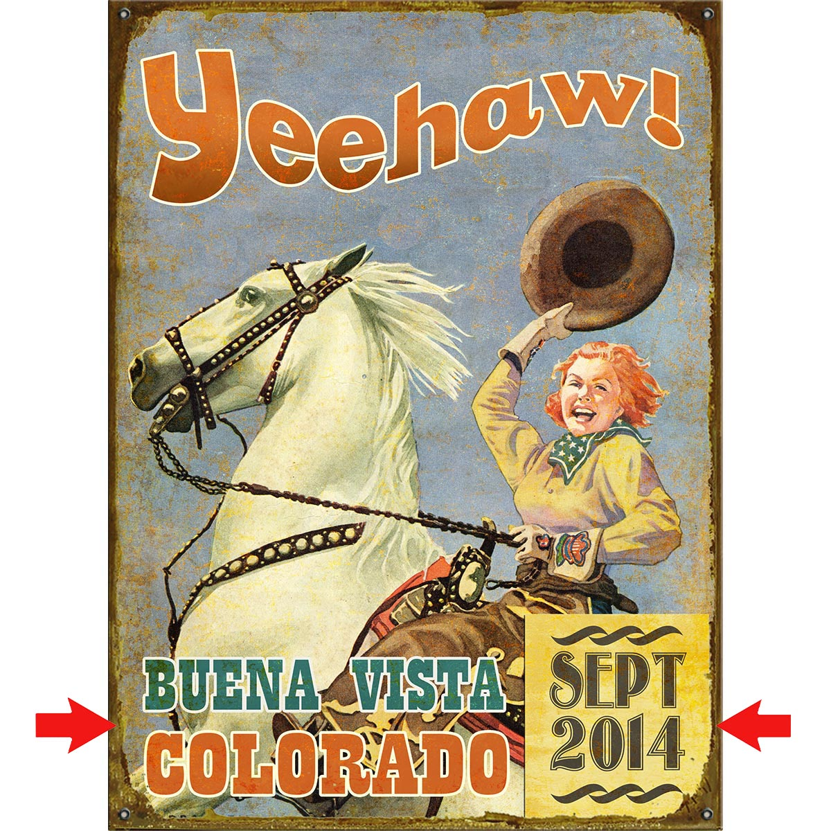 Yeehaw Cowgirl Personalized Sign - 28 x 38