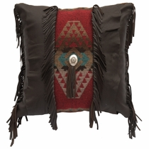 Yellowstone II Fringe and Concho Pillow with Fabric Back