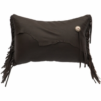 Yellowstone II Leather Pillow with Fabric Back