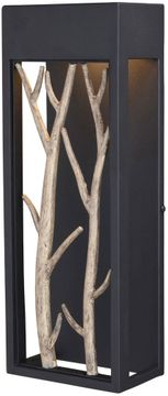 """Vaxcel Ocala 15.5"""" LED Outdoor Lighting Sconce - Textured Black and Poplar T0561"""