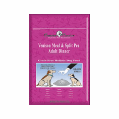 Canine Caviar Venison And Split Pea is available in 3.3 lbs, 14 lbs, and 30 lbs.