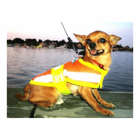 Dog Cat Pet Reflective Safety Vest, Price includes free shipping, 9 Inch long up to 14 Inches wide  XX Small fits 5 lbs to 12 lbs dogs like Chihuahuas, Pomeranians and Papillion type dogs outside USA add $5