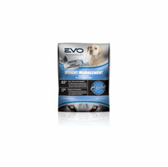 EVO Weight Management Dry Dog Food is available in 6.6 lb (3 kg), 13.2 lb (6 kg), and 28.6 lb (13 kg) bags.