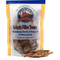 """Grizzly Salmon Fillet Treats for Dogs & Cats (3 oz) Bag   """"The salmon jerky was a real hit!!!  They kept following me around for more.  Today I�m going to try the dehydrated food. Thanks, Val, NY :} """""""