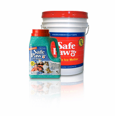 Safe Paw ice snow melt melter works like no other and is 100 percent safe 1 each five gallon pail 35 lbs and  1 each 8 lb. 3 0z. jug. In Stock.. Ready to Ship. $ave  by ordering the both.