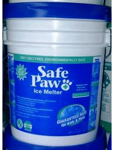 Safe Paw ice snow melt melter works like no other and is 100 percent safe five gallon pail 35 lbs. In Stock..Ready to Ship.