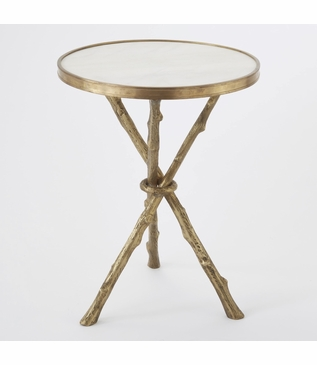 Meadow Stick Table | Brass & Marble